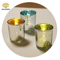 Speckled Mercury Silver/Gold glass candle holder church place decorative item wholesale