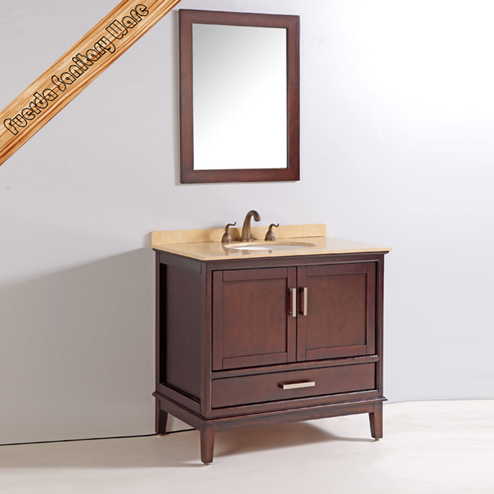 FED-1830 modern solid wood marble top bathroom vanity units sale