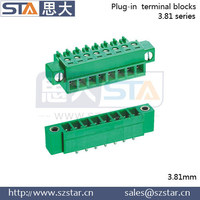 male and female pluggable terminal block phoenix contact terminal blocks 3.81mm CE RoHS