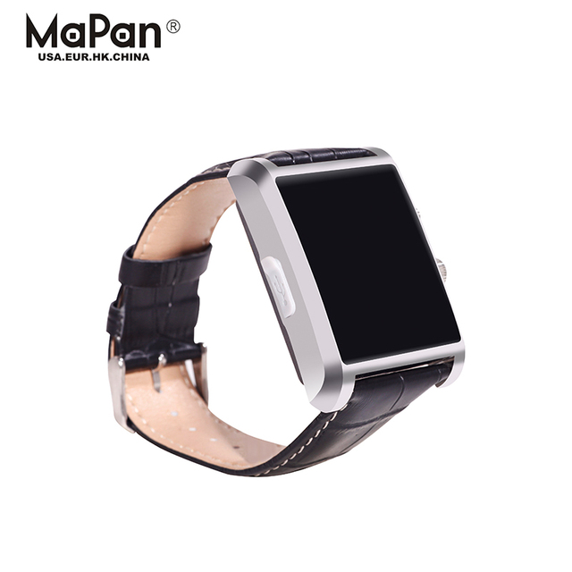 leather material smart watch made in china for wrist wearing answering phone