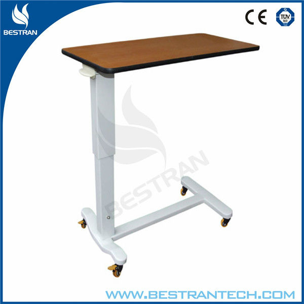 BT-AT004 China factory sale mobile hospital medical patient height adjustable overbed table with wheels