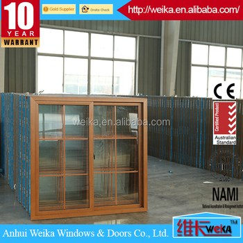 Weika brand wood color pvc sliding window