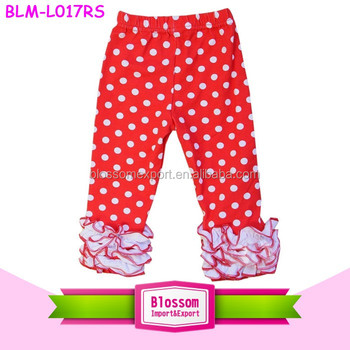 Wholesale icing custom printed red dots bottom ruffle legging baby sew sassy pants new design children leggings triple ruffles
