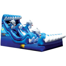 Blue sea animal design 0.55mm PVC dolphin slides commercial inflatable bouncer slide for rental with CE