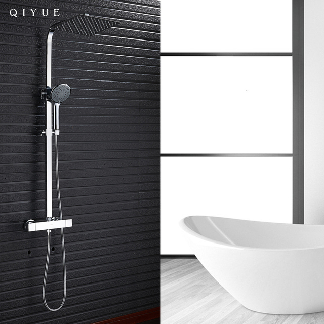 China suppliers chrome thermostatic rain shower faucet, bathroom shower set