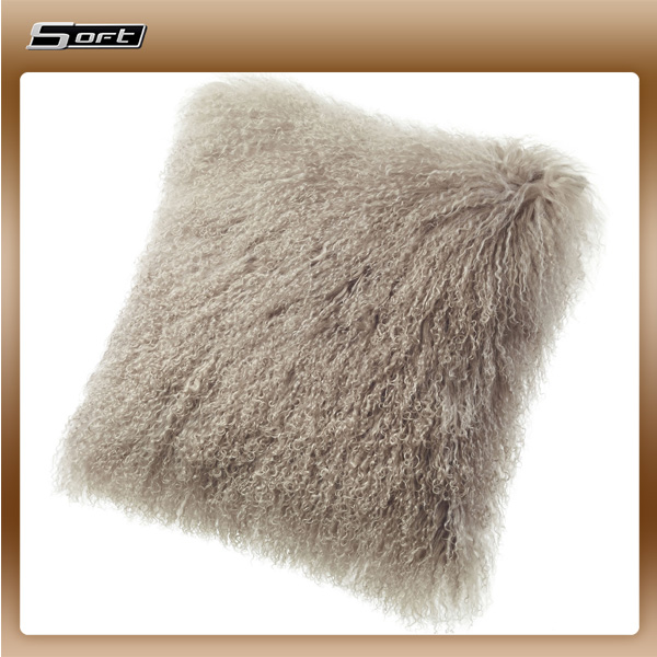 China supplier wholesale Curly Soft Mongolian fur body pillow
