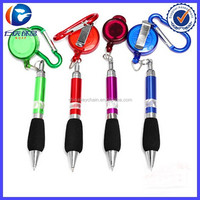 promotional metal soft grip pen with carabiner retractor