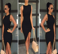Guangzhou Apparel Factory Supply Sexy Women Clothes Black Knee Length OEM Service Type Split Fashion Design Evenign Party Dress