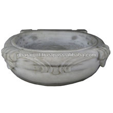 Natural Grey Granite Stone Carved Round Sink