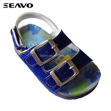 SEAVO SS17 cute baby boy cartoon car printed blue cork sole happy feet sandals