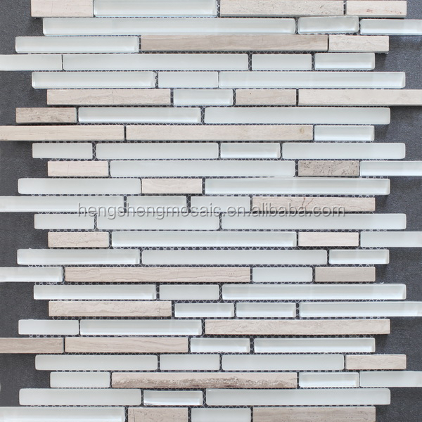 HST01 glass mixed nature stone strip wall tile mosaic