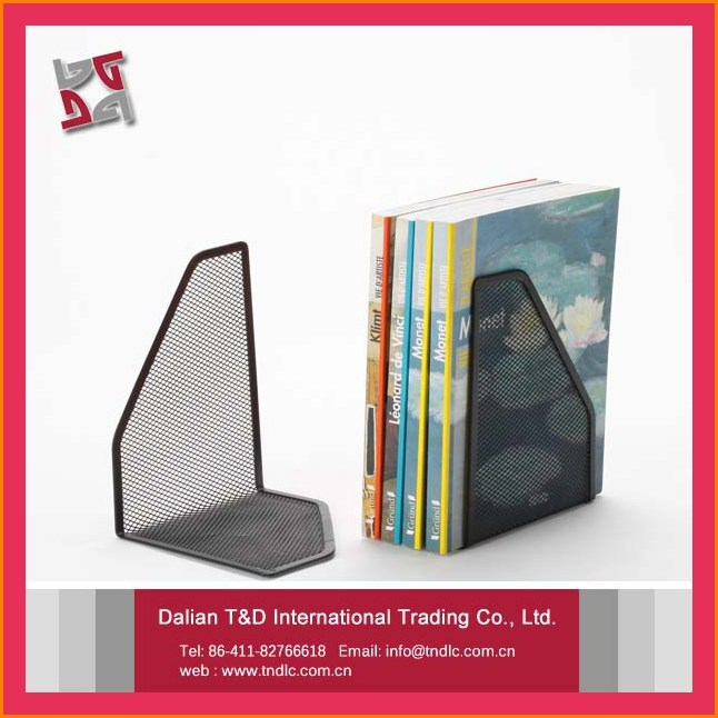 Office And School Supplies Desk Organizer Accessory Metal Mesh Black Decorative Bookends