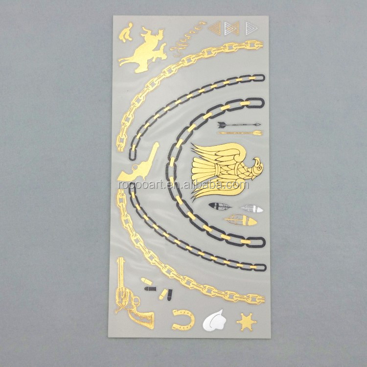 V4636/Whoelsale Metallic Temporary tattoos Jewelry Body GoldTatoo eagle