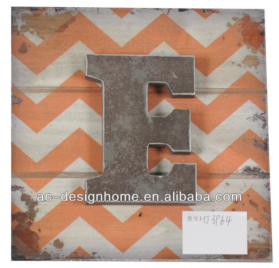 "RUSTY/PEACH ""E"" WOODEN LETTER WALL DECORATION"
