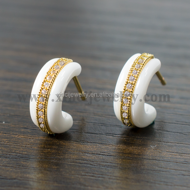 Elegant Women Stud Earrings AAA Zircon with Ceramic Earrings Free Shipping