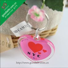 Customized Heart Shape Colorful Printed Double Sides Acrylic key chain ring