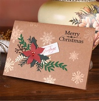 2019 hot selling custom creative wishes Christmas festival holiday greeting flower kraft paper card