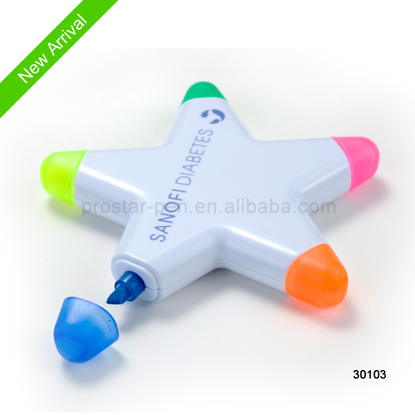 Multi color star shape highlighter pen
