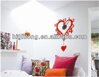 Latest Decorative Heart Shaped Wall Clock Sticker