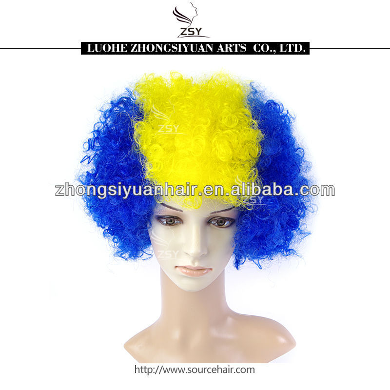 Soccer Football Fans wigs 1213021 football fan wig blue