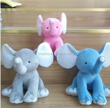 High quality Cute Plush Colorful Elephant Soft Stuffed Wild Custom Animal Toy With Big Ears,Pink Blue Grey elephants
