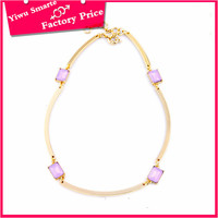 Promotional cheap jewelry online , Mexico hottest elegant and simple design women fancy pink stone jewelry necklace collar