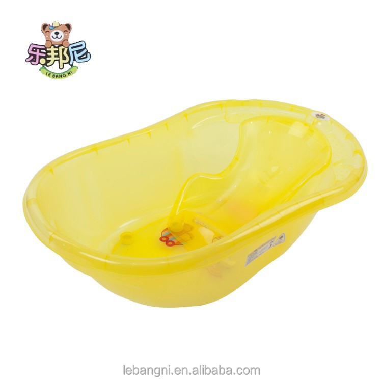 Middle Transparent Plastic tub/ deep kids bathtub Yellow
