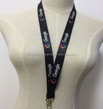 Customized printed neck lanyard black custom printed Google lanyard
