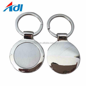 Promotional custom zinc alloy metal round blank sublimation keychain