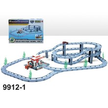Elevated Train track Set,Racing track toy for kids with Electric car