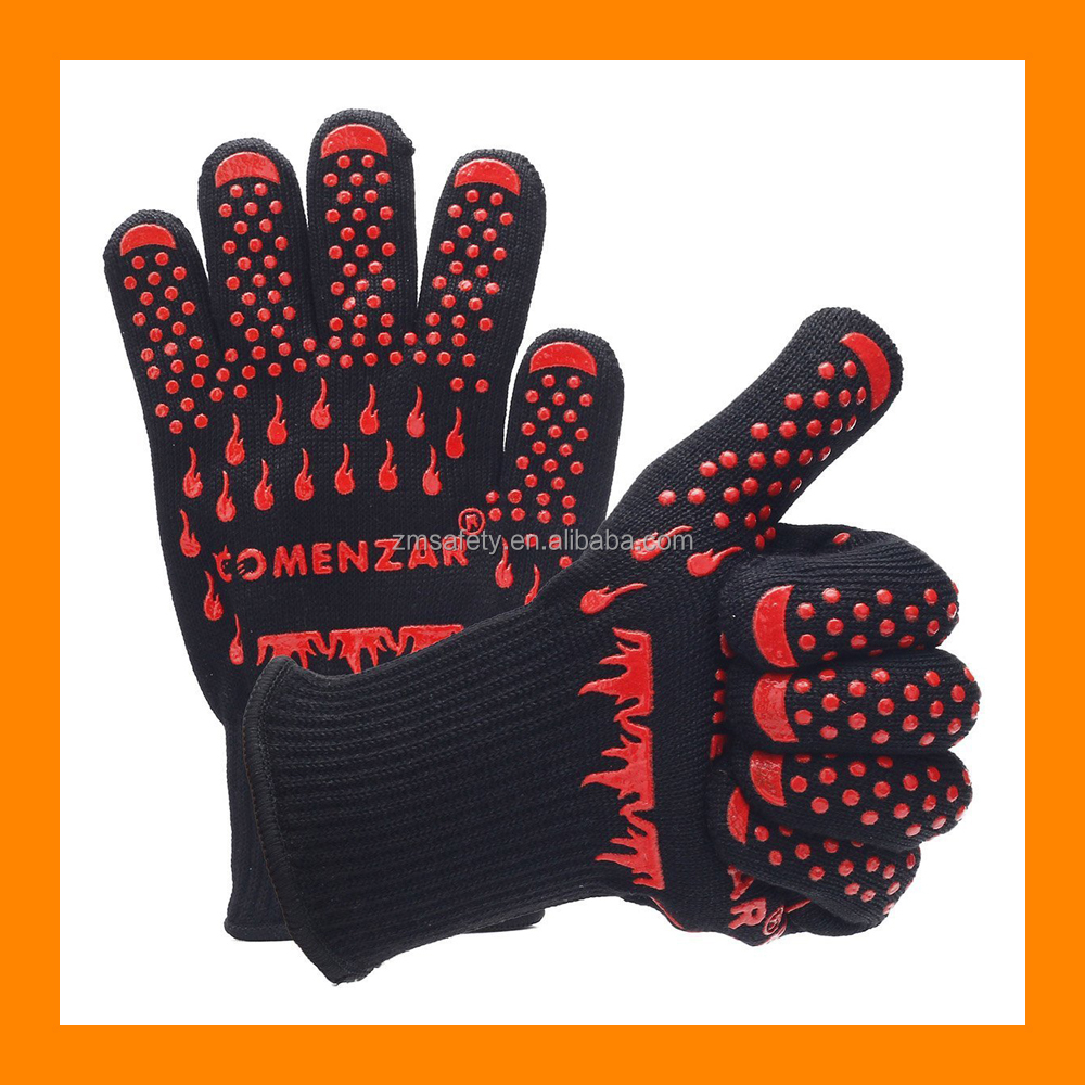 Manufacture Price Heat Resistant Gloves Aramid Cotton Heatproof Gloves BBQ Oven Kitchen Gloves Bear Claw Oven Mitts