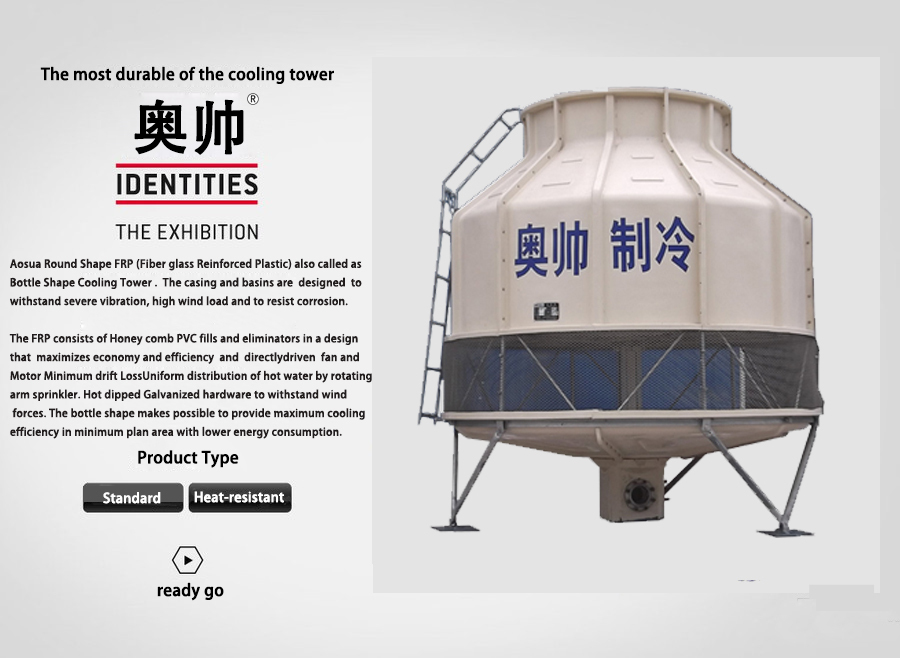 100T Round Low Noise FRP Counter-Current Cooling Tower