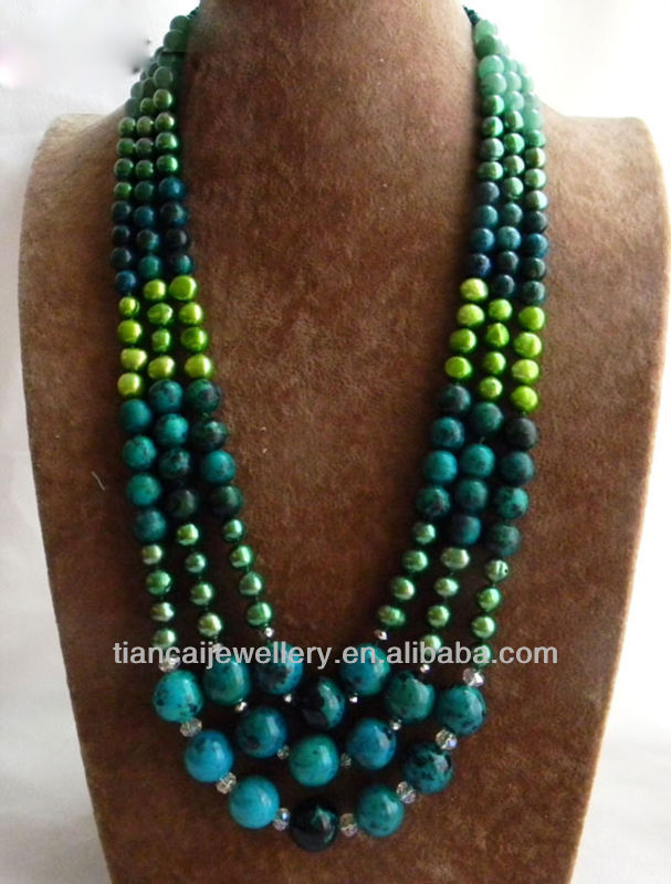 3Strands 23 14mm Round Malachite Green Baroque Freshwater Pearl Jade Necklace
