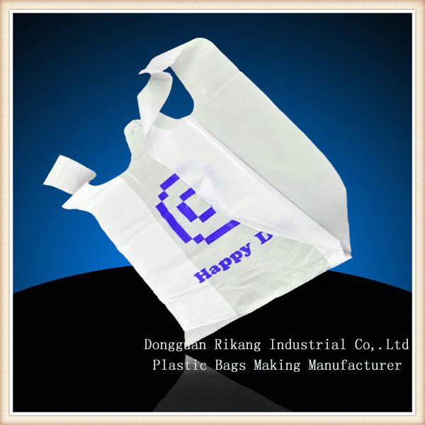Fully biodegradable supermarket plastic hdpe vest carrier bags for shopping