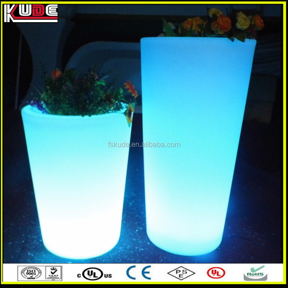 outdoor garden large size plastic flower pot with lights