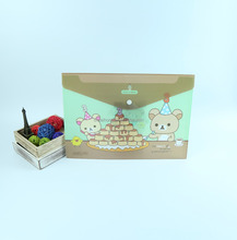 lovely bear design button file folder carrying case, a4 clear file folder document holder, plastic document bag for school