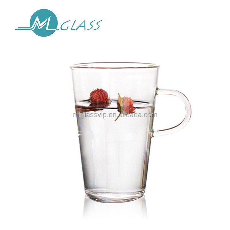 wholesale glass cup with handle 400ml handmade high borosilicate glassware N6300