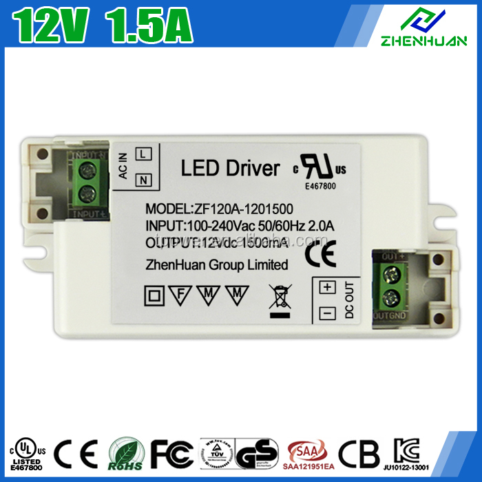 Single Output Type LED Lights Driver 12V 1500mA Power Adapter