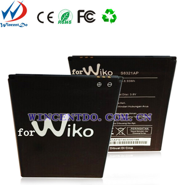 Shenzhen China mobile phone battery factory, 2350mah 3.7v li-ion polymer battery for WIKO S8321AP