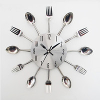 fork and knife wall clock for kitchen decoration