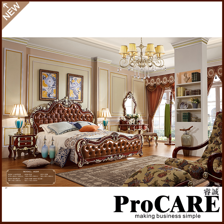 Us 1622 0 Italian French Antique Furniture Bedroom Furniture Europe Design Leather King Size Bed Villa Furniture Luxury European Furniture In