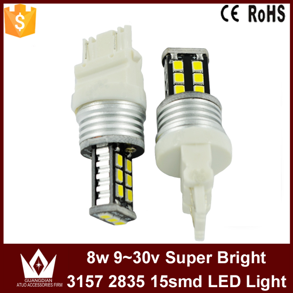 lightpoint 8w high bright new chip 2835 15smd 9~30v canbus car led lights t25 p27/7w 3157