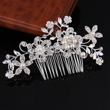 2017 New Arrival Cheap Personalized Metal Rhinestone Wedding Hair Accessory Handmade Pearl Bridal Hair Comb