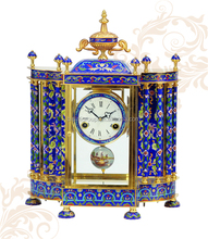 Luxurious Cloisonne Enamel Art Clock, Pendulum Antique Table Clocks