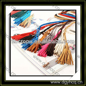 2mm--100mm microfiber strip fringer suede leather for women braid
