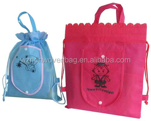 Custom 80gsm Fabric Foldable Shoe Backpack Non Woven Drawstring Bag