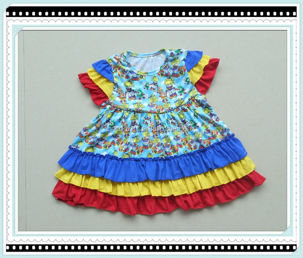 2017 Hot Sale Girls Dress Fashion Summer Cartoon Print Bird Strap Girls Dresses Wholesale 0-7 years