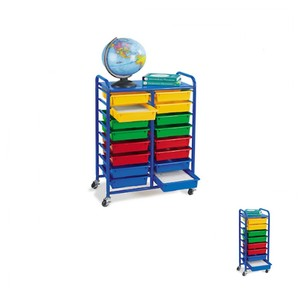 High end toy organizer 16 cubbies plastic drawers toy storage shelf with casters