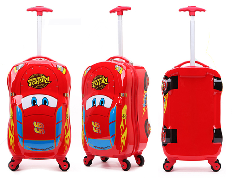 China manufacturer red kids car luggage bags cases with 4 wheels children