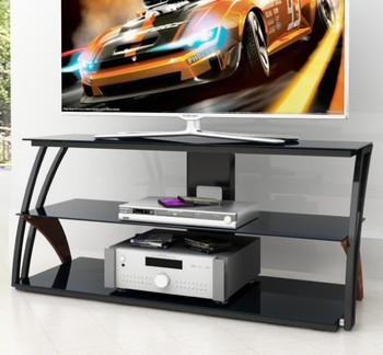 Modern Three Shelves Glass TV Rack